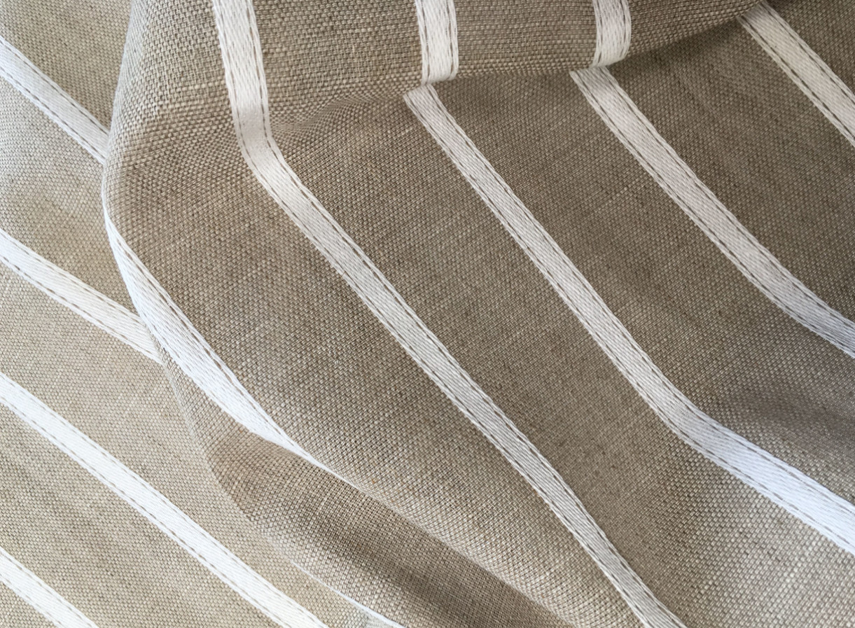 inmatex tejido hogar visillo rayas blanco-lino