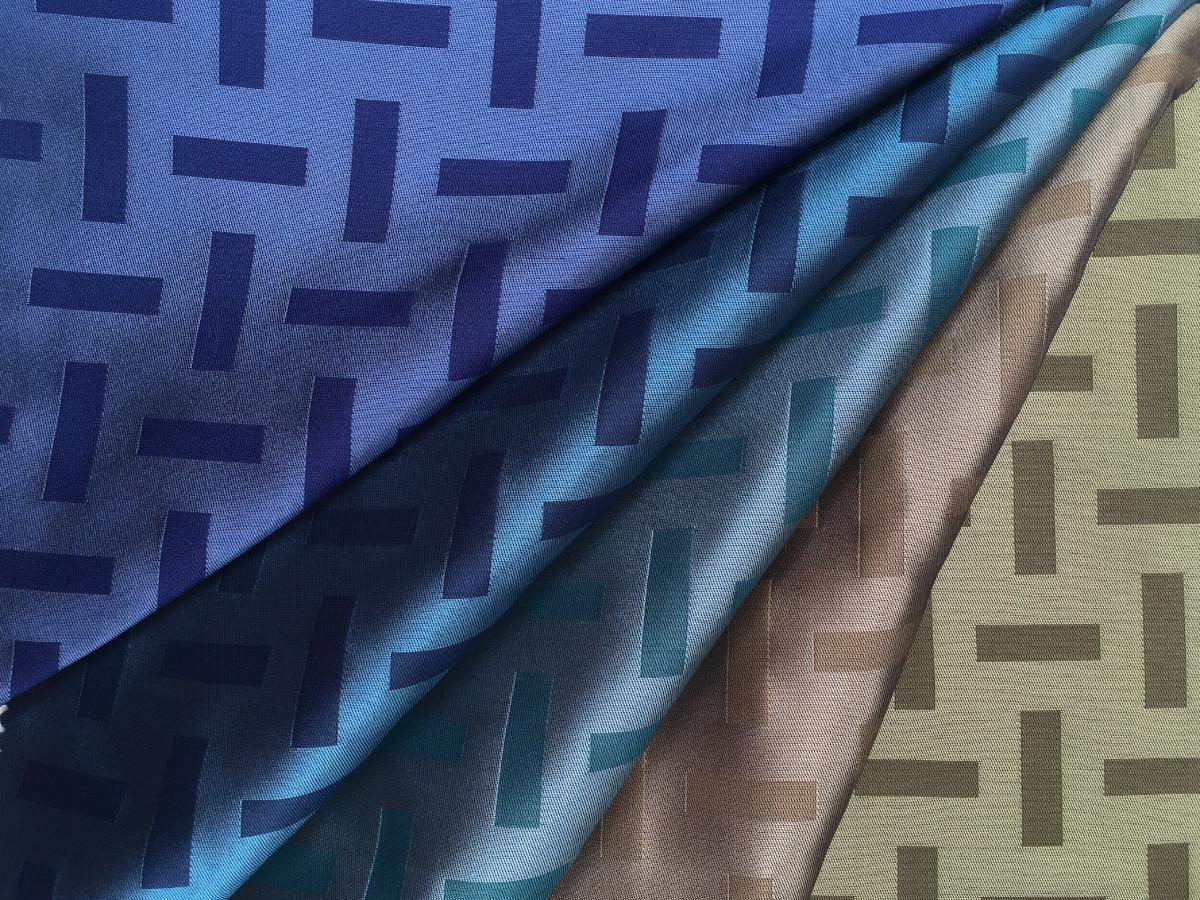 inmatex tejido moda dibujo geométrico brillo-mate